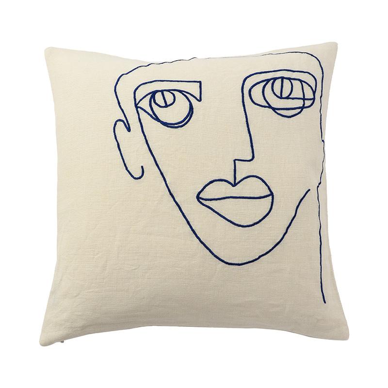 【cushion cover campaign 対象品】 LINEAR FACE CC COBALT 45X45