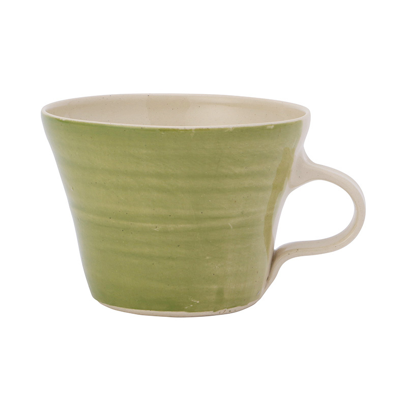 WONKI WARE SQUAT FLUTED MUG IRISH GREEN