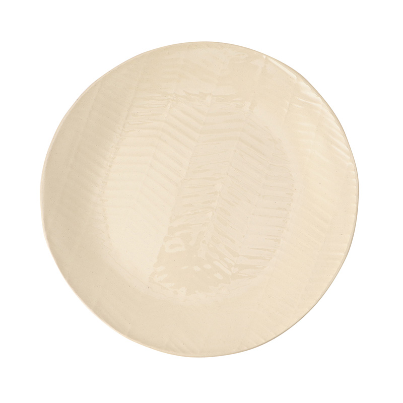 WONKIWARE HERRINGBONE NATURAL DINNER PLATE 28CM