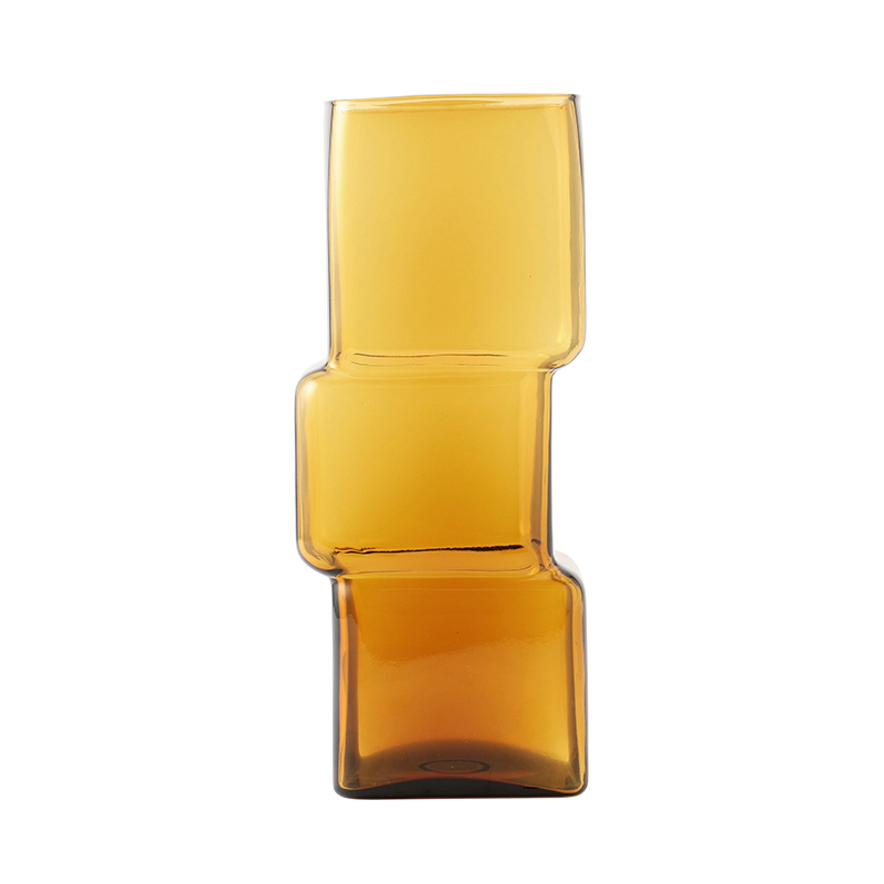 CUBE VASE AMBER TALL
