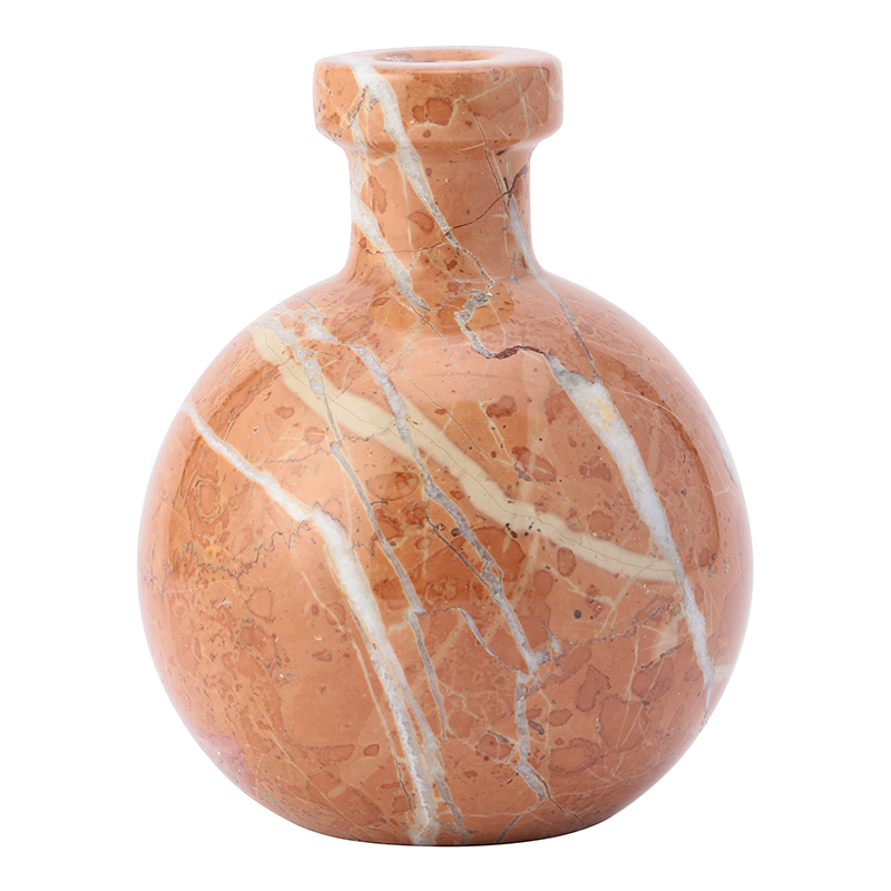 RED SMALL BUD VASE ROUND MARBLE