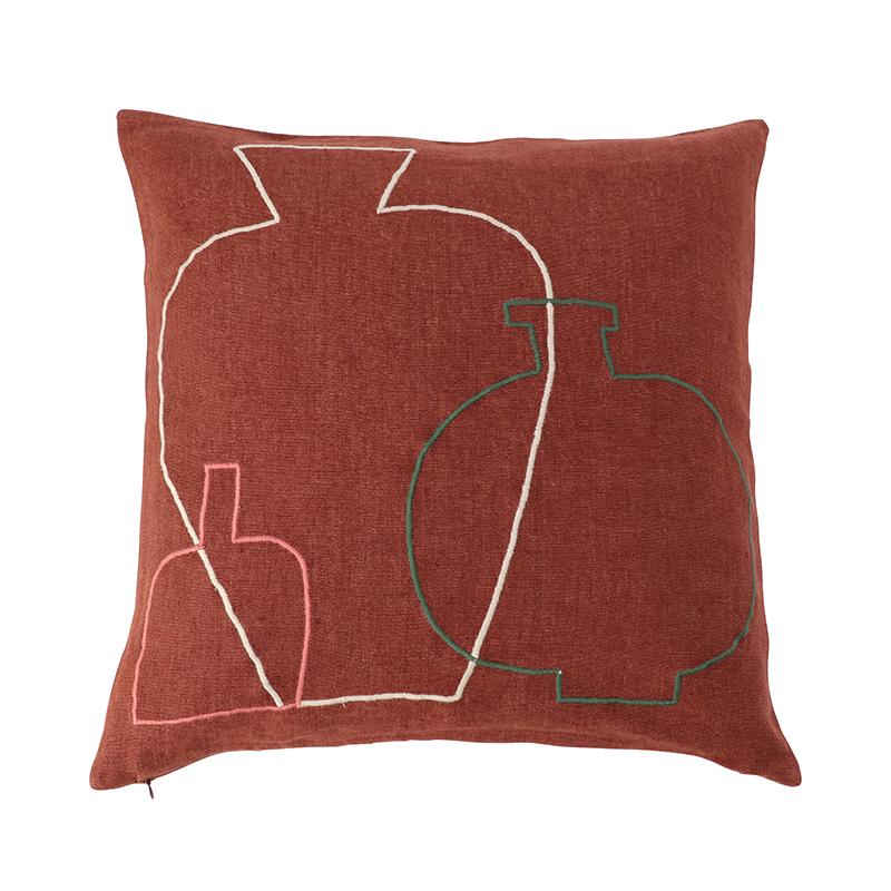 【cushion cover campaign 対象品】 ORIGINAL VASE EMBROIDERED CC 45X45 RUST