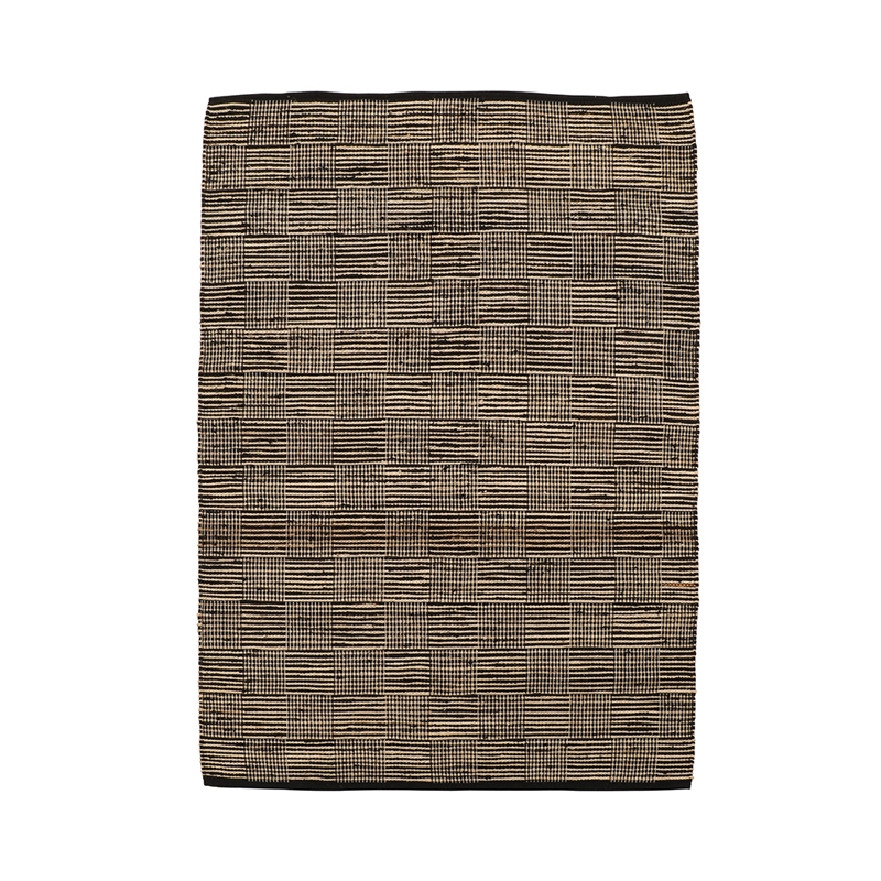 MULTI GRID JUTE RUGS 170 X 240 BLACK
