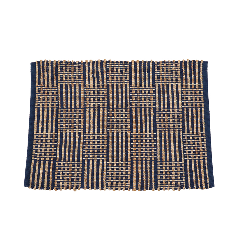 MULTI GRID JUTE RUGS 50X 70 BLUE