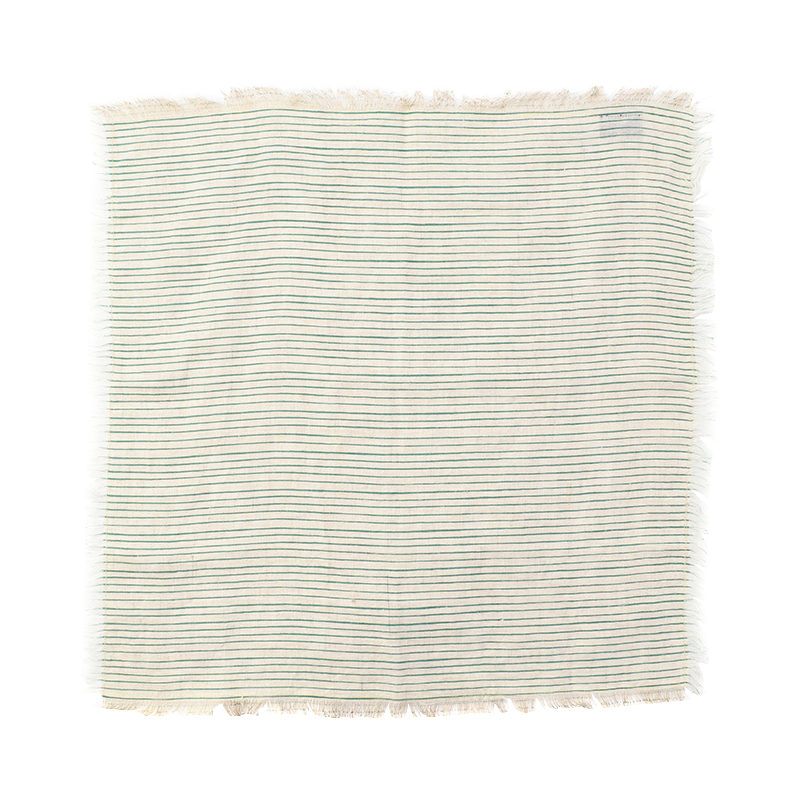 ORIGINAL  FRAYED STRIPE NAPKIN GREEN