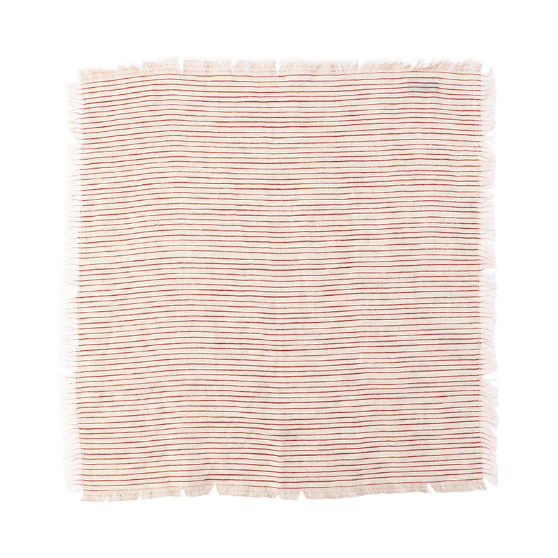 ORIGINAL  FRAYED STRIPE NAPKIN RED
