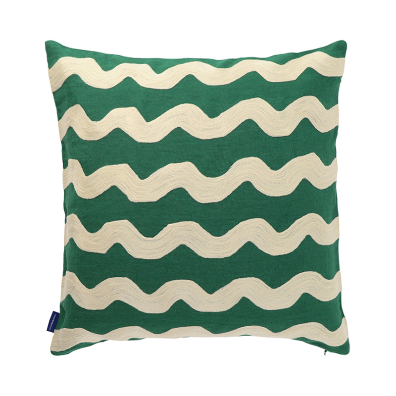 WAVY CREWEL EMBROIDERED CUSHION CONER  50X50 GREEN