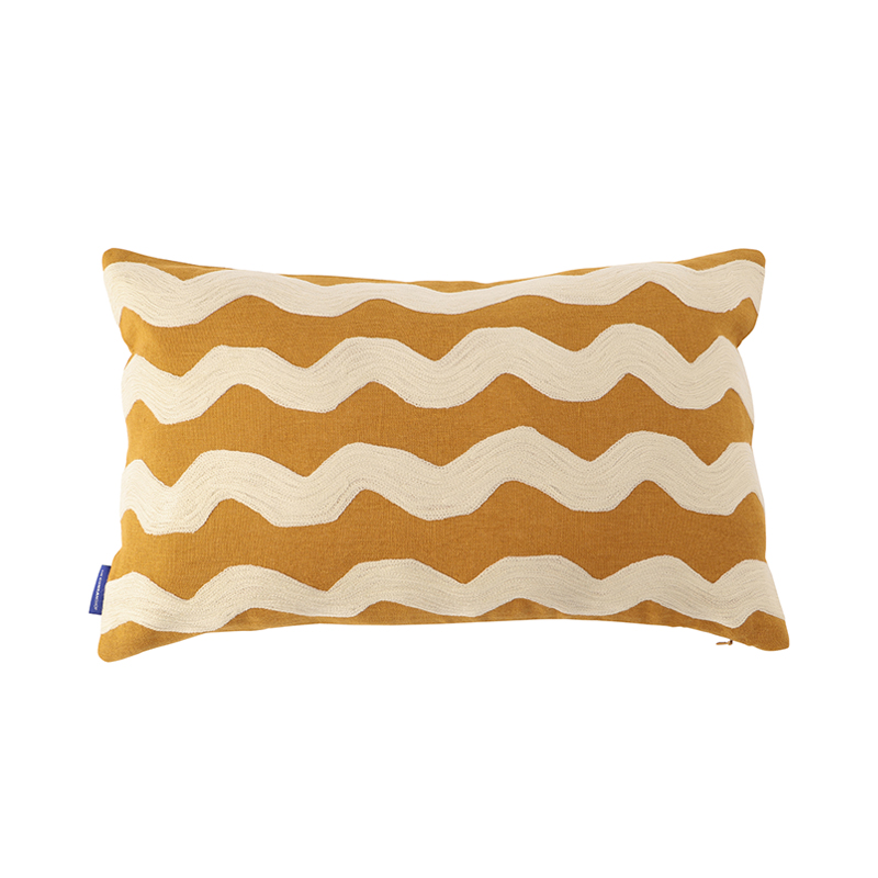 WAVY CREWEL EMBROIDERED CUSHION CONER  30X50 OCHRE