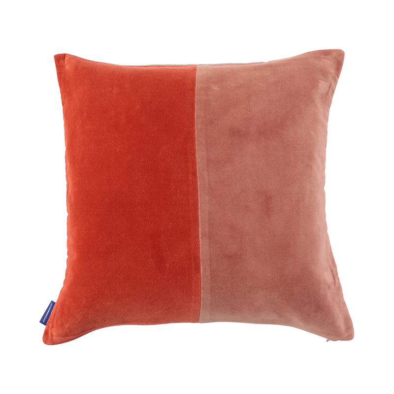 2 TONE VELVET CUSHION COVER 45X45 PINK/RED