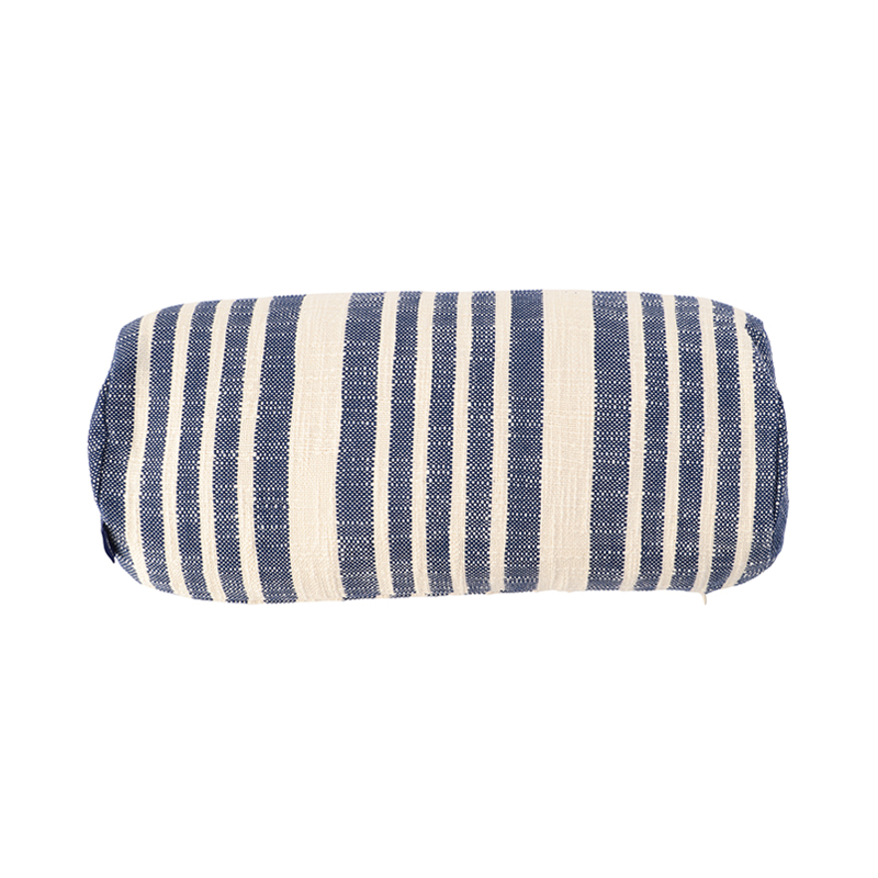 WOVEN STRIPE BOLSTER CUSHION CONER 46X20 BLUE