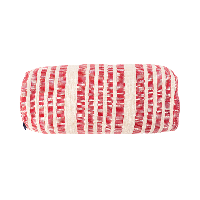 WOVEN STRIPE BOLSTER CUSHION CONER 46X20 RED