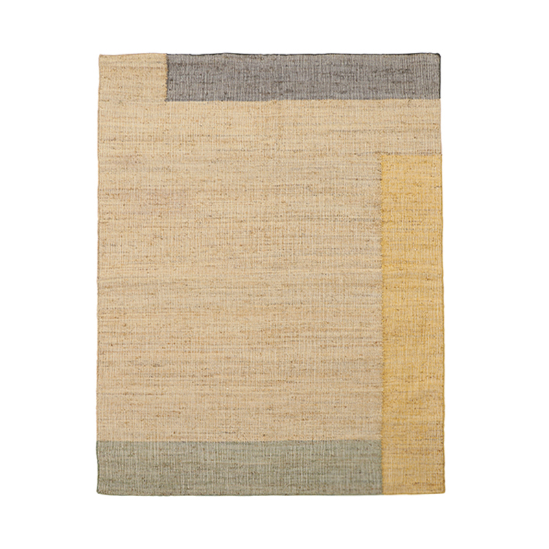 COLOUR BLOCK JUTE RUG 170X240 YELLOW