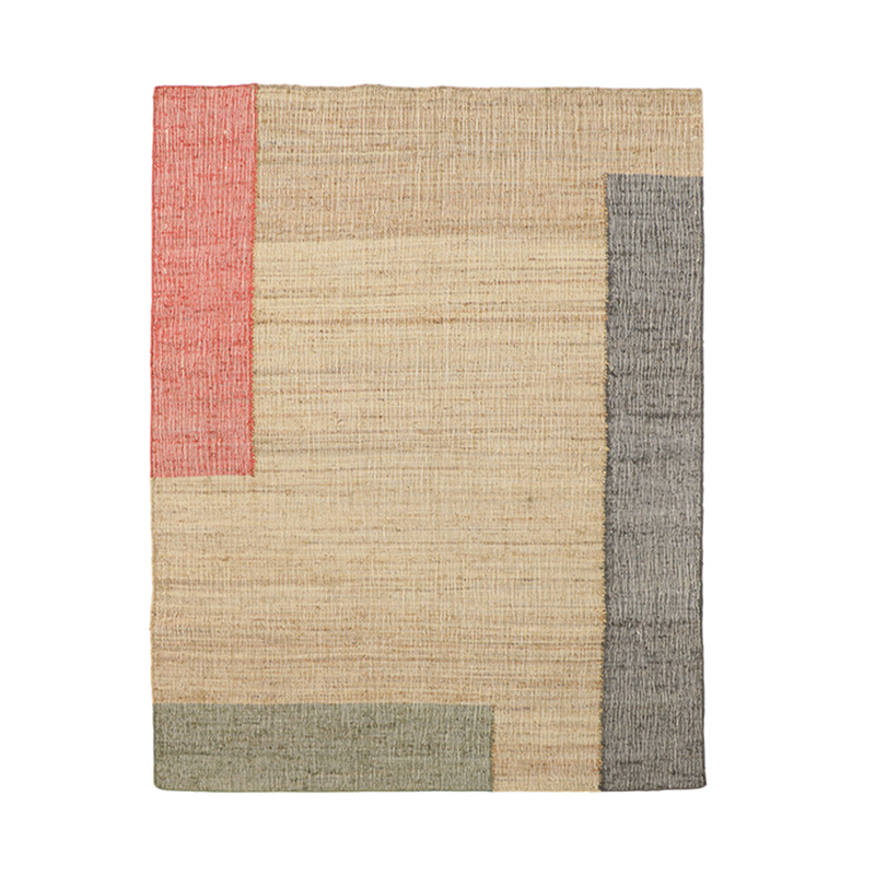 COLOUR BLOCK JUTE RUG 170X240 RED