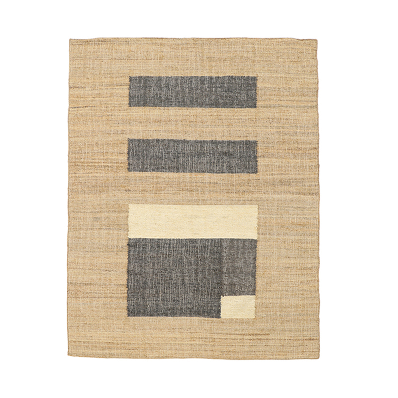 COLOUR BLOCK JUTE RUG 170X240 GREY