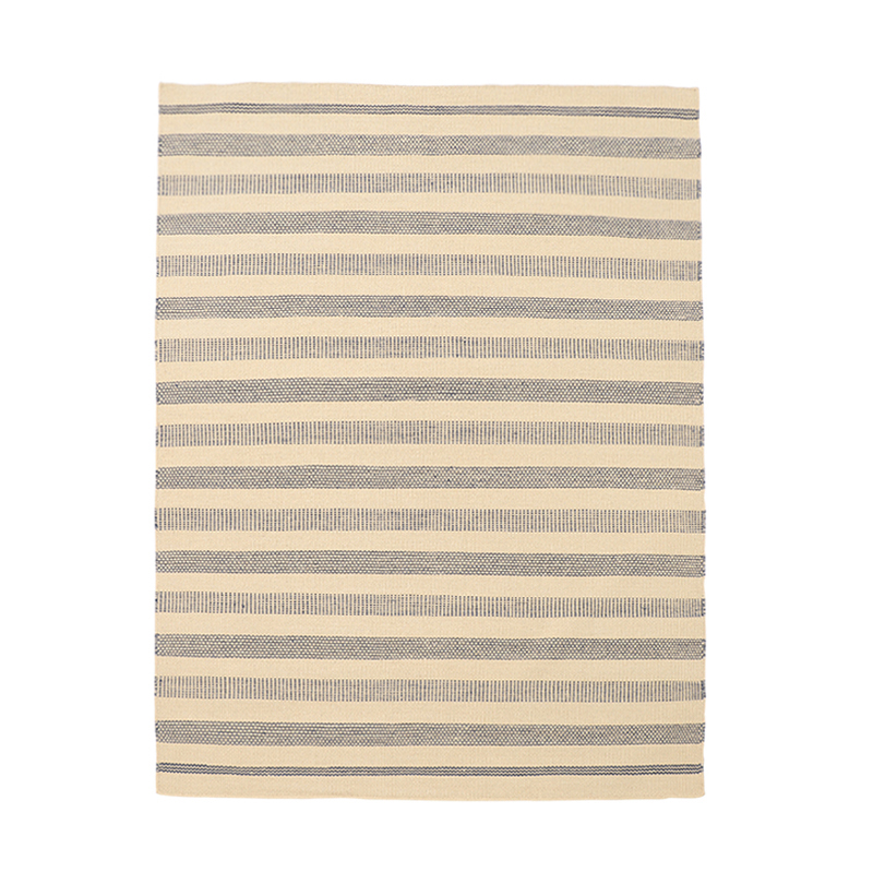 WOOL MULTI LINE STRIPE RUG 170X240 BLUE