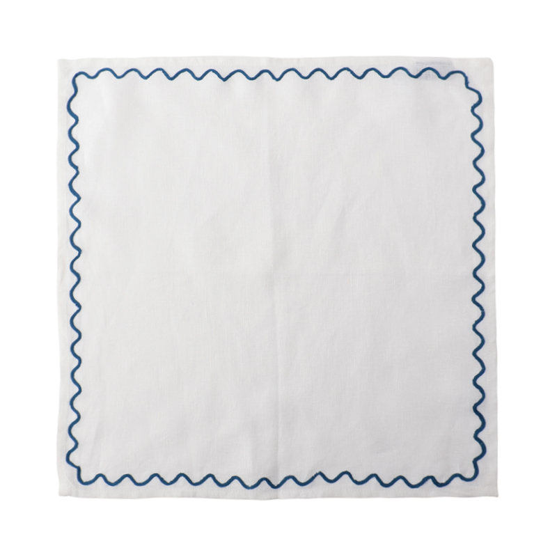 SCALLOPED EMBROIDERED NAPKIN BLUE45X45CM