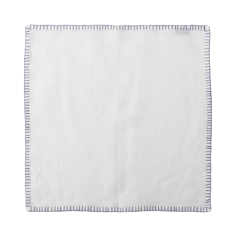 LINEN NAPKIN CONTRAST STITCH WHITE/BLUE 45X45
