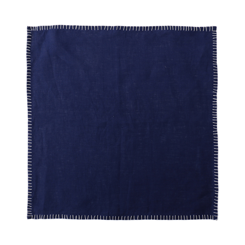 LINEN NAPKIN CONTRAST STITCH BLUE/WHITE 45X45