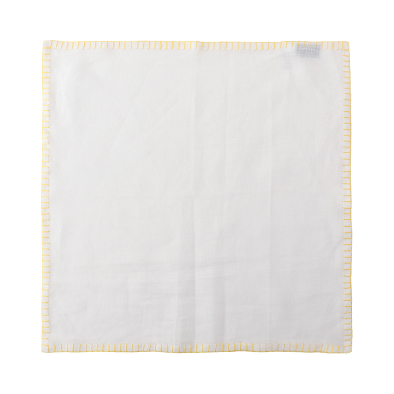 LINEN NAPKIN CONTRAST STITCH WHITE/YELLOW45X45
