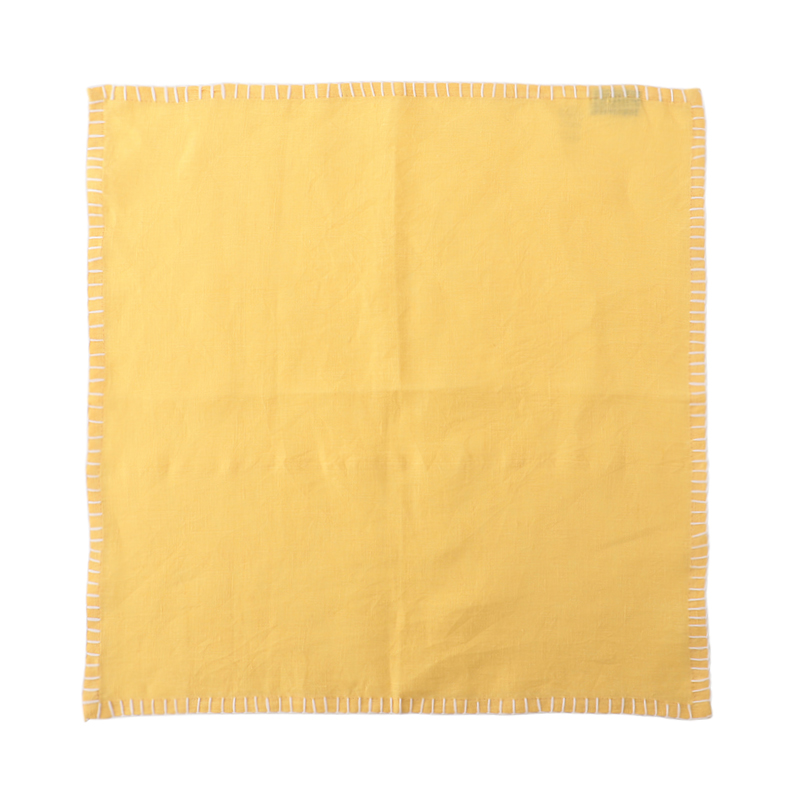 LINEN CONTRAST STITCH NAPKIN YELLOW/WHITE 45X45