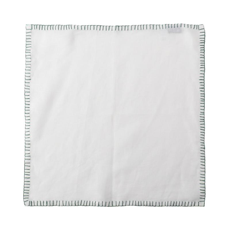 LINEN CONTRAST STITCH NAPKIN WHITE /GREEN 45X45