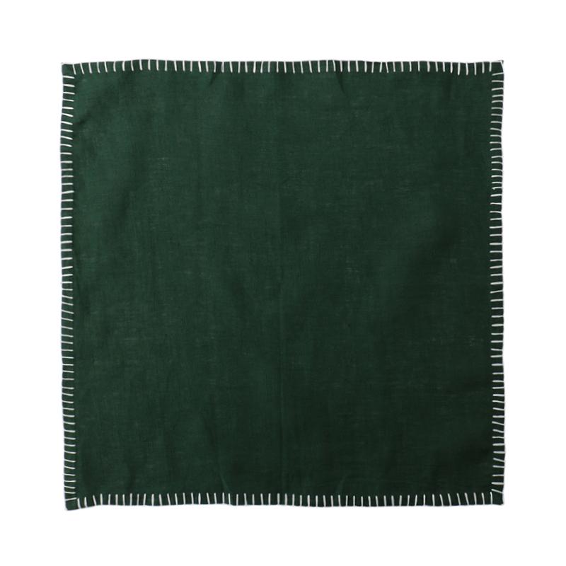 LINEN CONTRAST STITCH NAPKIN GREEN/WHITE 45X45