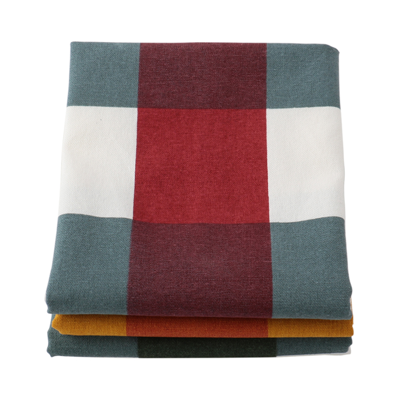 SET OF 3 CHECKED TEA TOWELS MULTI 46X70CM