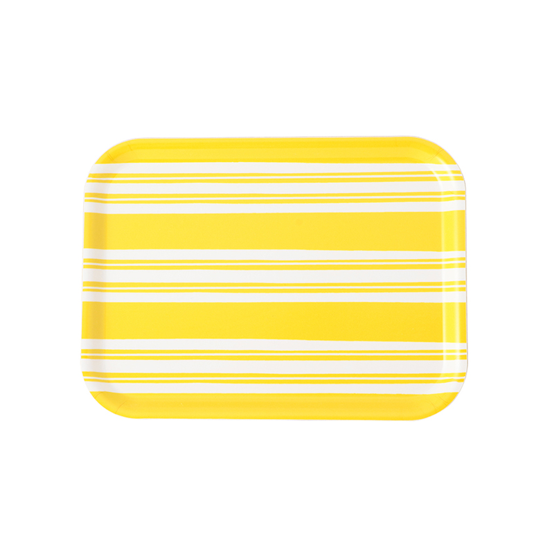 BOLD STRIPE YELLOW RECTANGULAR TRAY 27X20CM