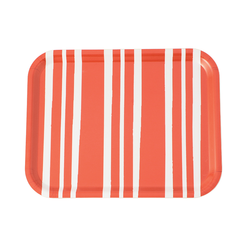 BOLD STRIPE RED MEDIUM RECTANGULAR TRAY 36X28CM