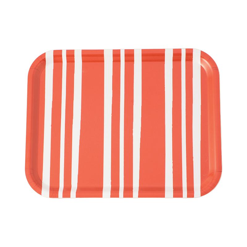 BOLD STRIPE RED MEDIUM RECTANGULAR TRAY 36X28CM