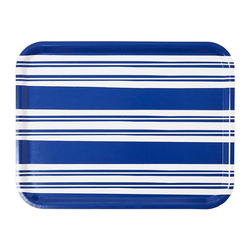 BOLD STRIPE BLUE LARGE RECTANGULAR TRAY 43X33CM