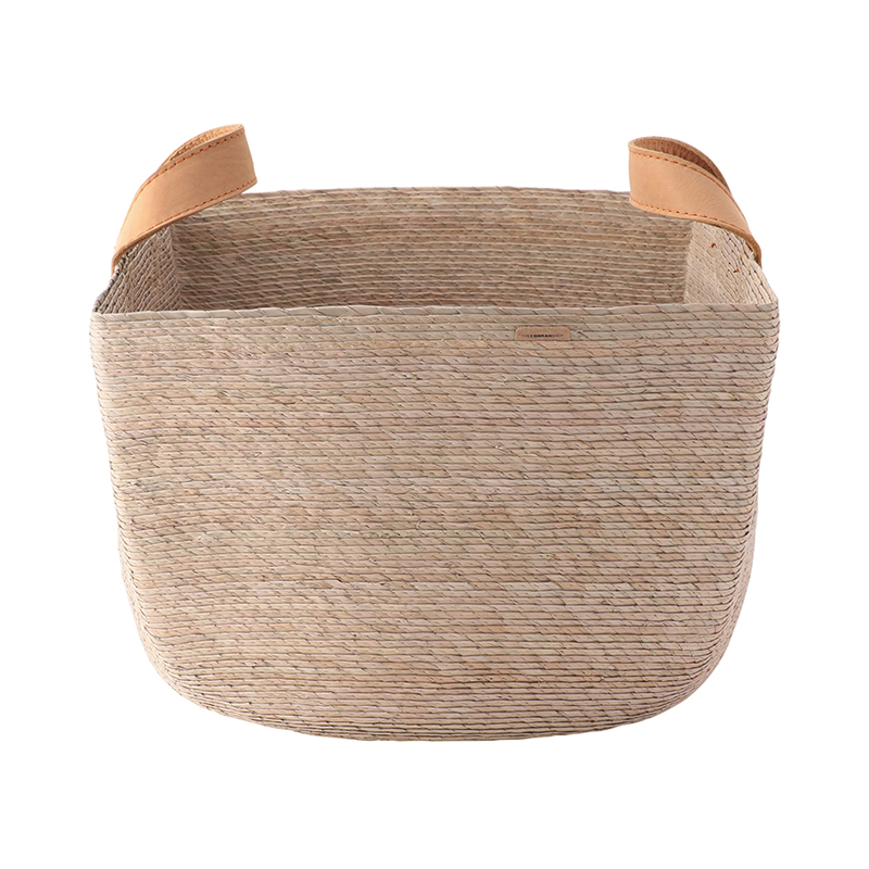 REVISTERO SQUARE BASKET WITH LEATHER HANDLE