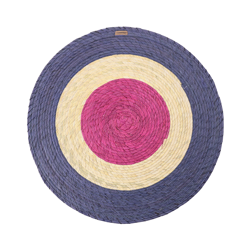 TRIPLE ROUND PLACEMAT BLUE/NATURAL/PINK