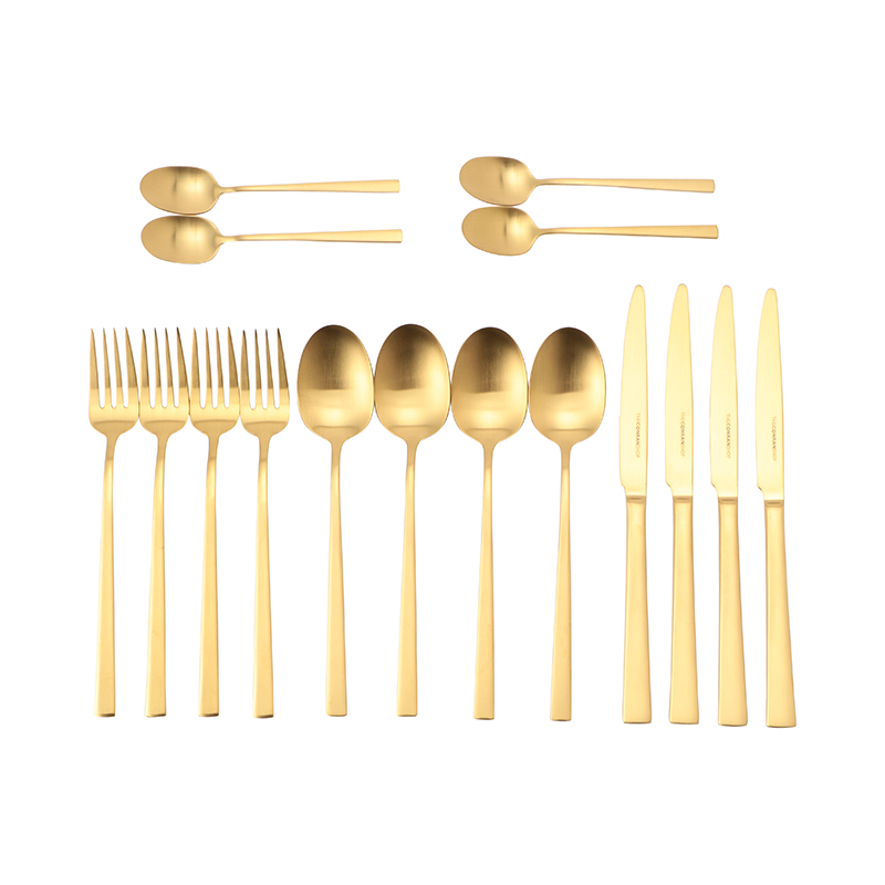 PELHAM GOLD PLATED MATT 16P CUTLERY SET