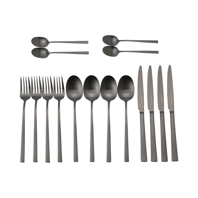 PELHAM MATT BLACK 16 PIECE CUTLERY SET