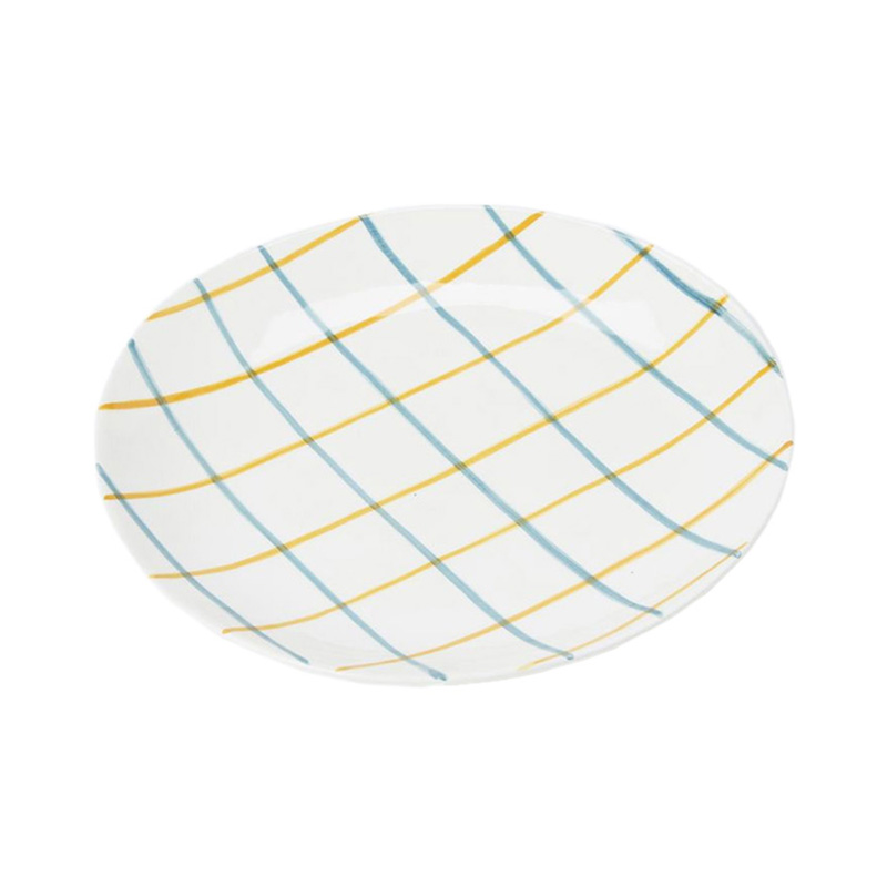 PINTURA THIN CHECKED SIDE PLATE IN BLUE&MUSTARD