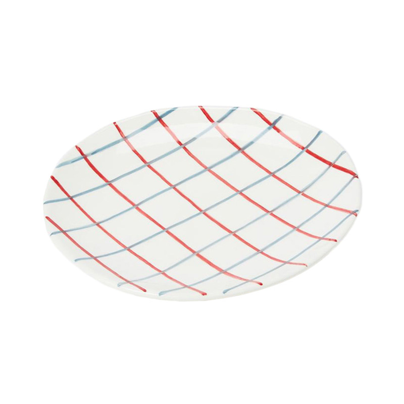 PINTURA THIN CHECKED SIDE PLATE IN BLUE&RED