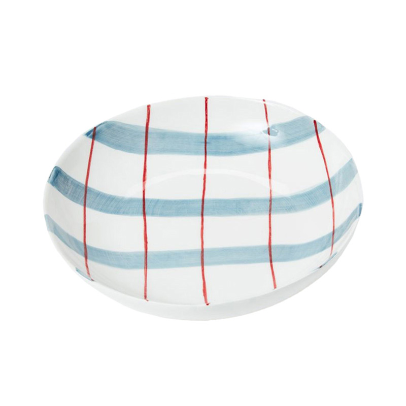 PINTURA THICK CHECKED PASTA BOWL IN BLUE&RED