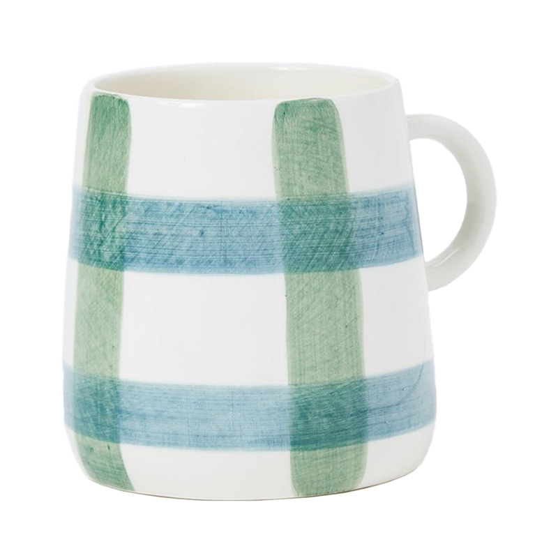 PINTURA THICK CHECKED MUG IN BLUE&GREEN