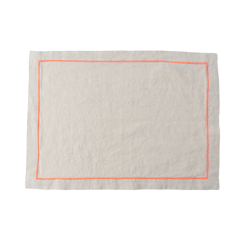 BABY OVERLOCK PLACE MAT SOFT GREY/CORAL36X48