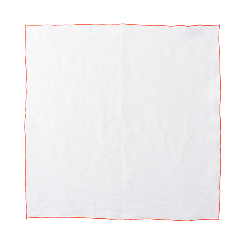 EDGED LINEN NAPKIN 50X50 WHITE/ORANGE