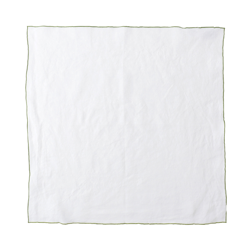EDGED LINEN NAPKIN 50X50 WHITE/GREEN