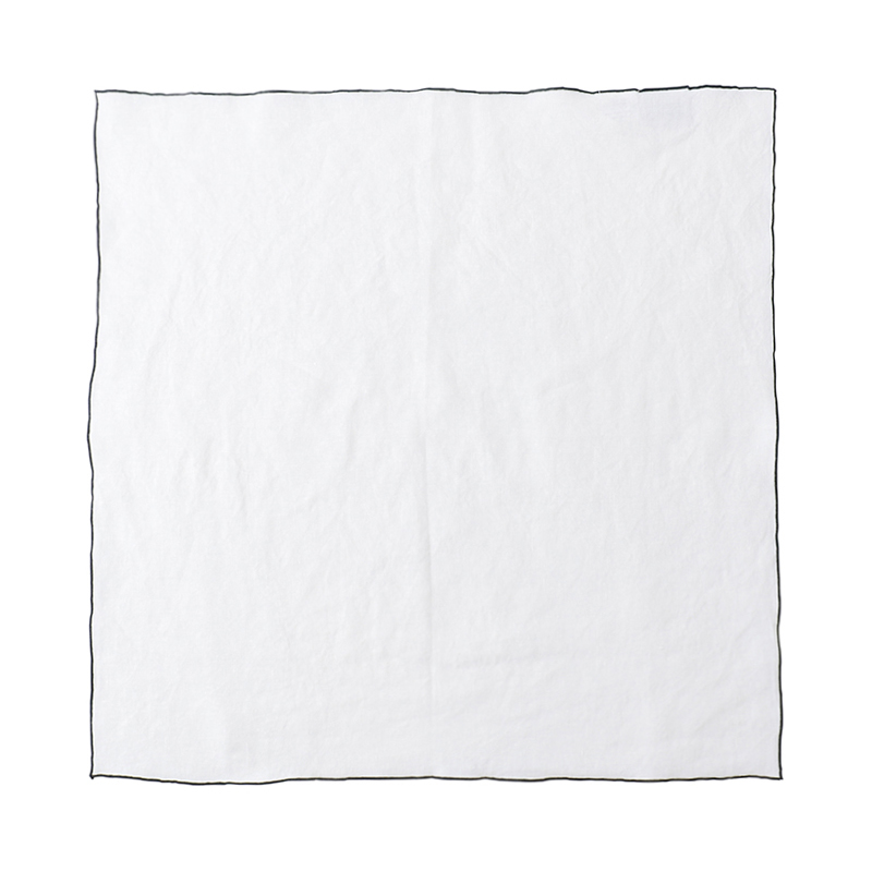 EDGED LINEN NAPKIN 50X50 WHITE/NAVY