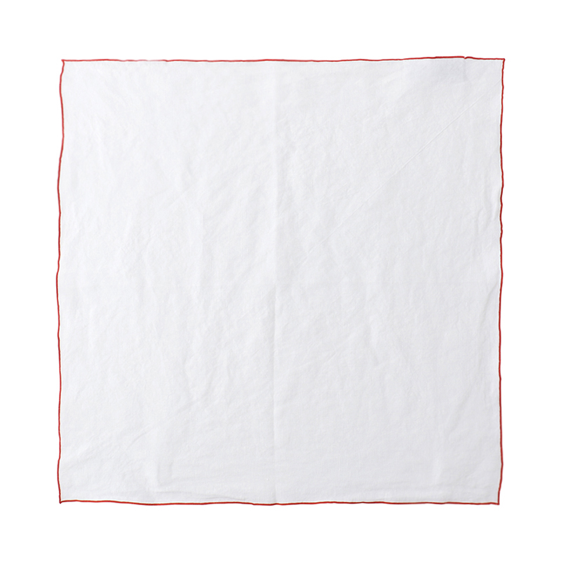 EDGED LINEN NAPKIN 50X50 WHITE/RED