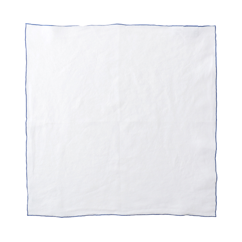 EDGED LINEN NAPKIN 50X50 WHITE/COBALT