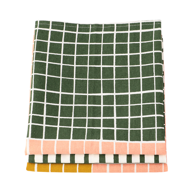 SET OF 3 GRID DISH CLOTHS PINK/GREEN