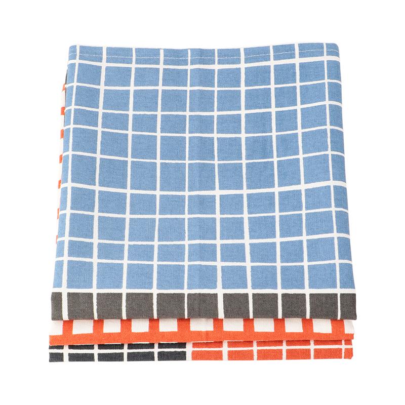 SET OF 3 GRID DISH CLOTHS RED/BLUE