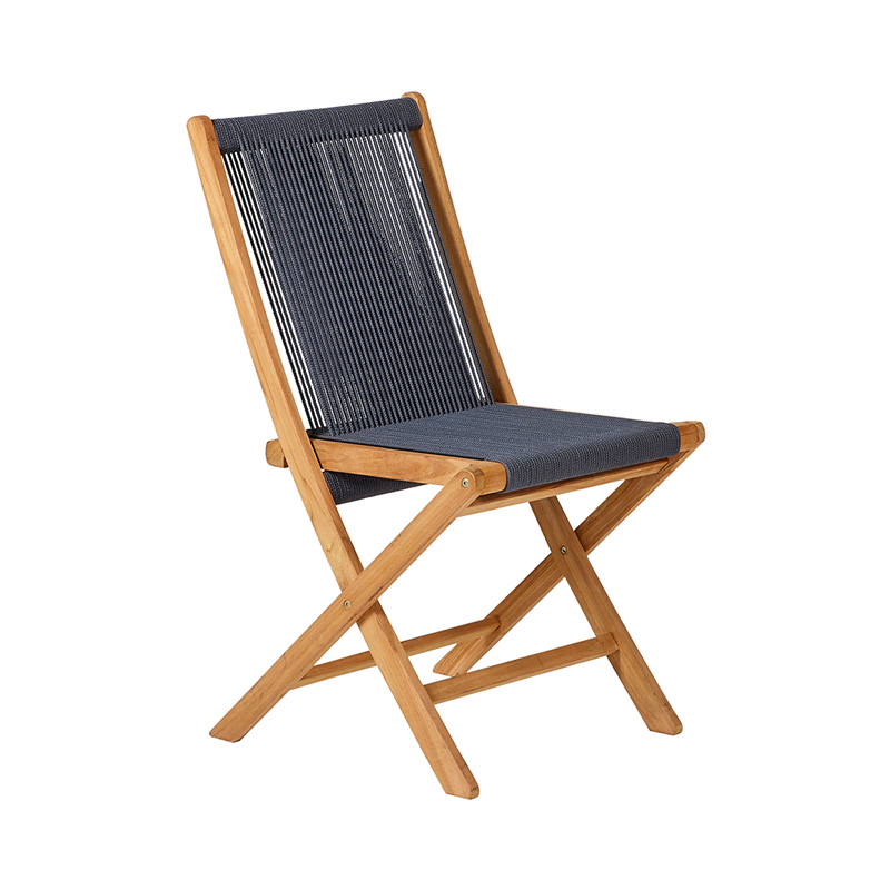 TEAK FOLDING ROPE CHAIR ANTHRACITE