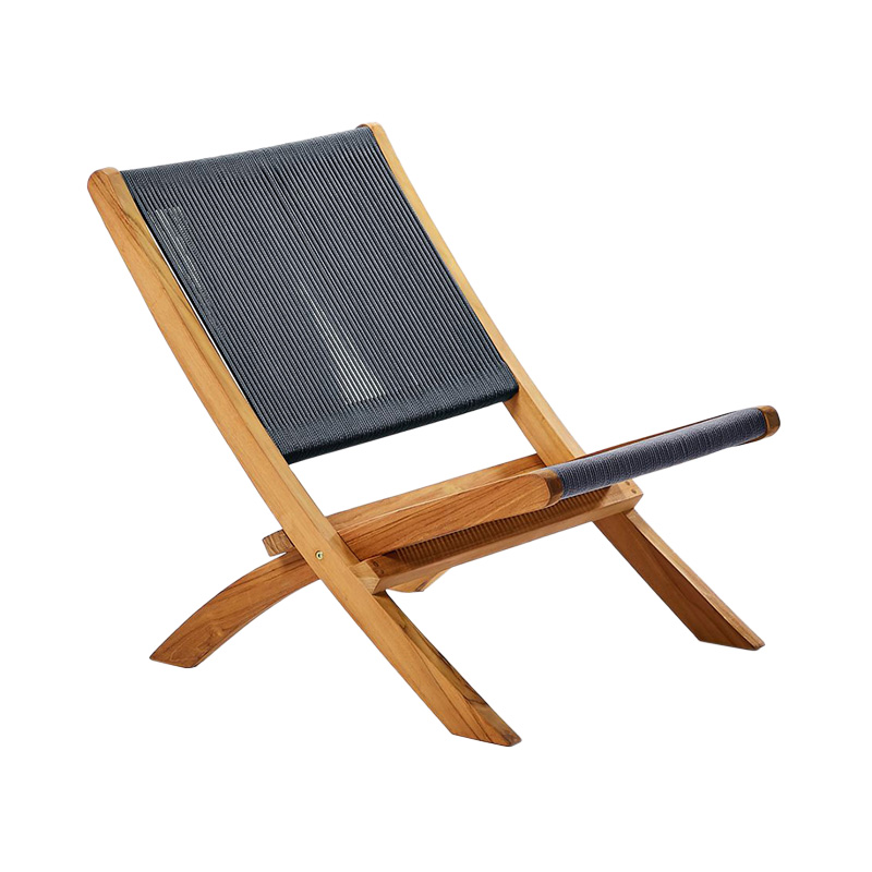 TEAK OUTDOOR FOLDING LOUNGE CHAIR ANTHRACITE