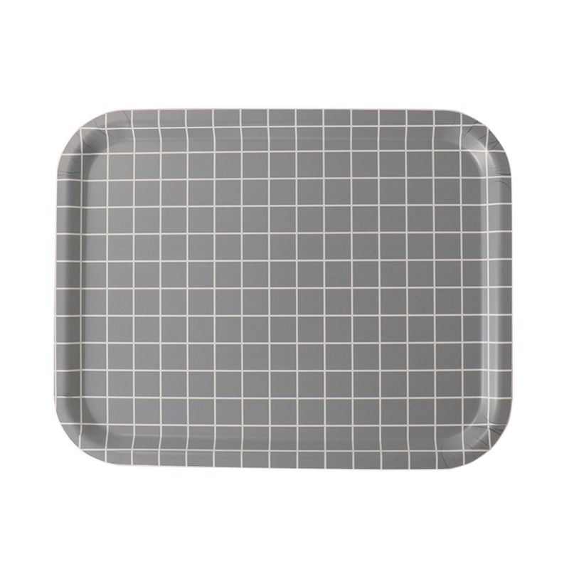 CHECK MONOCHROME M.GREY RECT TRAY 36X28